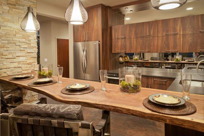 Rustikale Gestaltung des Wohnzimmers-Dekoration Einrichtung Wohnzimmer Küche Holzelemente