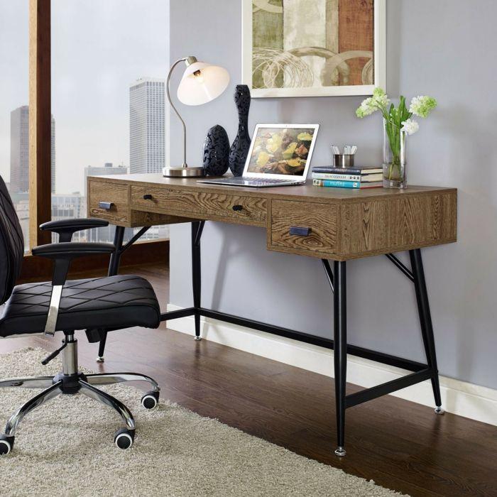 Rustikaler Schreibtisch mit Beinen aus Edelstahl-schlichte rustikale Büromöbel Büroarbeitsplatz Schreibtisch schöne Dekoration Ideen