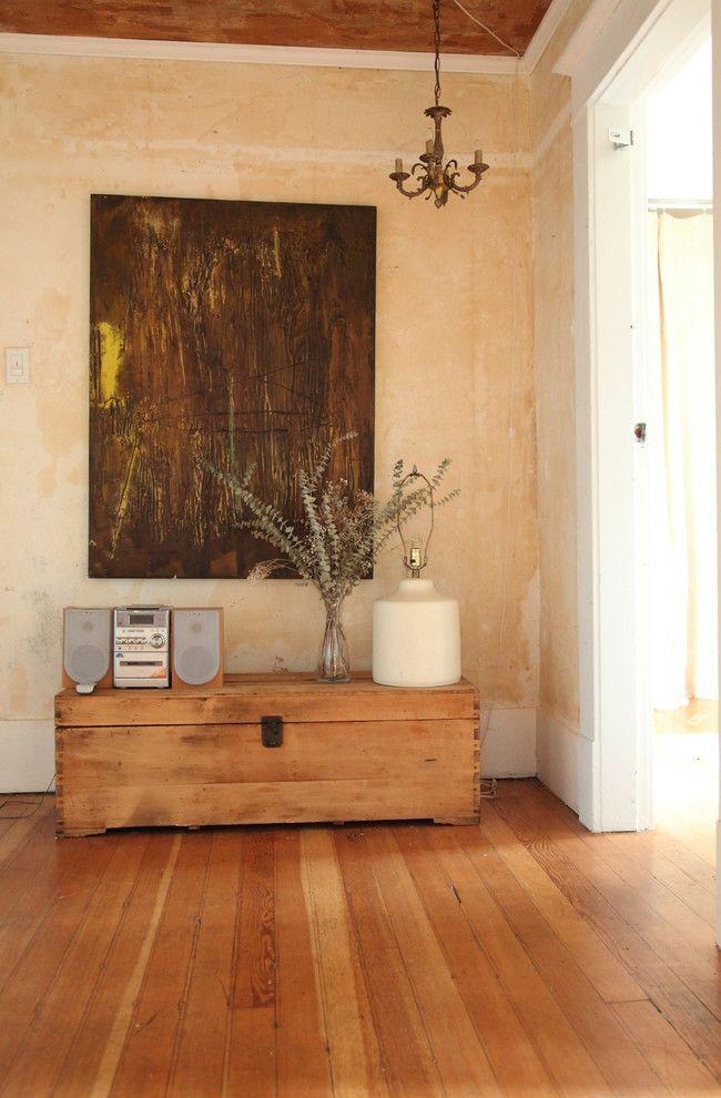 Rustikales Wohndesign und abstrakte Kunst-Eklektische Wohnung Vintage rustikal