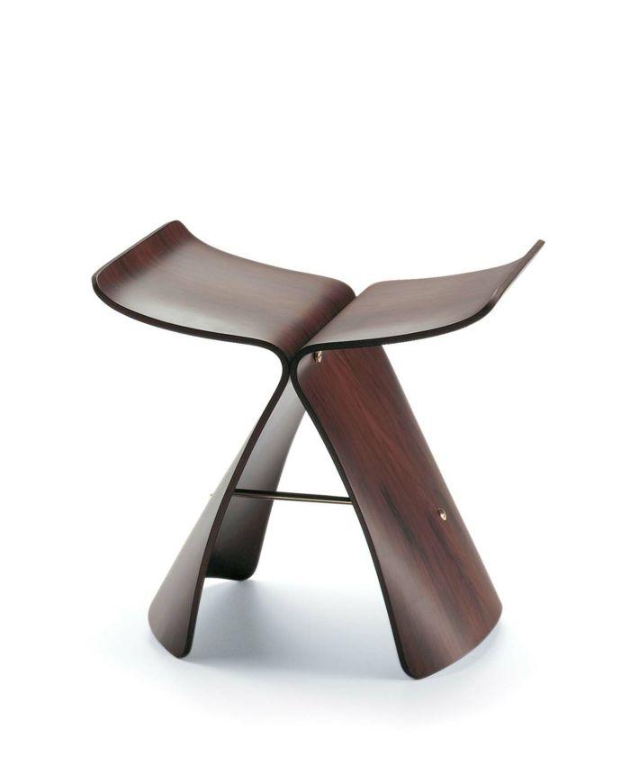 Sanft geschwungene Silhouette eines Schmetterlings-Designermöbel Hocker Barhocker Sitzmöbel einzigartig schlicht