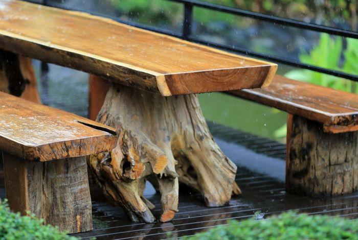 Schöne Optik sogar im Regen-Lärchenmöbel Lärchenholz Dauerhaftigkeit Gartenmöbel wetterfest