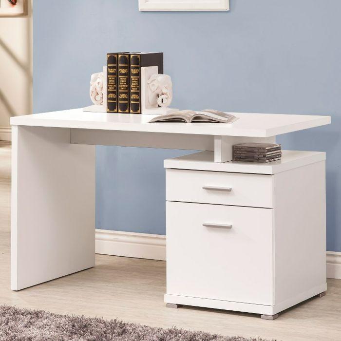 Schicker Arbeitstisch mit zwei Schubladen in Weiß-Büromöbel Weiß Hochglanz Arbeitsplatz Schreibtisch-Schöne Dekoration Ideen
