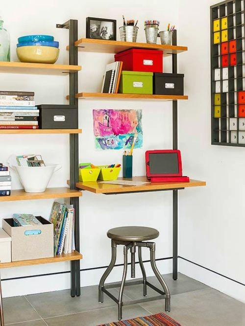 Schickes Heimbüro-Bunte Gestaltung für das kleine Arbeitszimmer-Aufbewahrung Ordnungssystem Heimbüro Home Office offene Wandregale