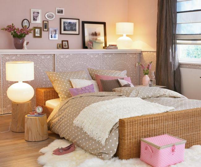 Schlafzimmer in Nudefarben, Holzmöbel, kuscheliger Teppich-möbel design