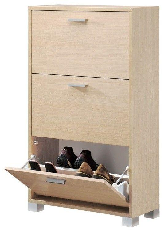 Schuhschrank in Holzoptik für Aufbewahrung von mehreren Schuhpaaren-Schuhschrank Schuhregal praktisch geschlossen