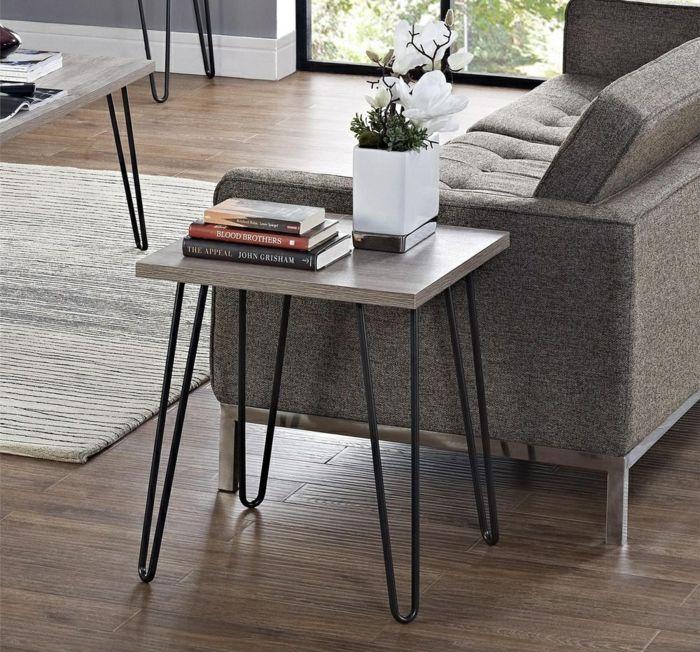 Simpler Holztisch mit Metallfüßen-Couchtisch Wohnzimmer