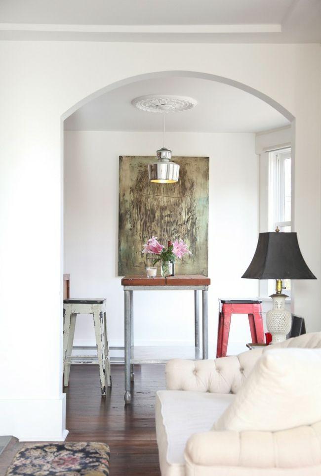 Stilvoller Essbereich mit abstraktem Bild-Eklektische Wohnung Vintage rustikal