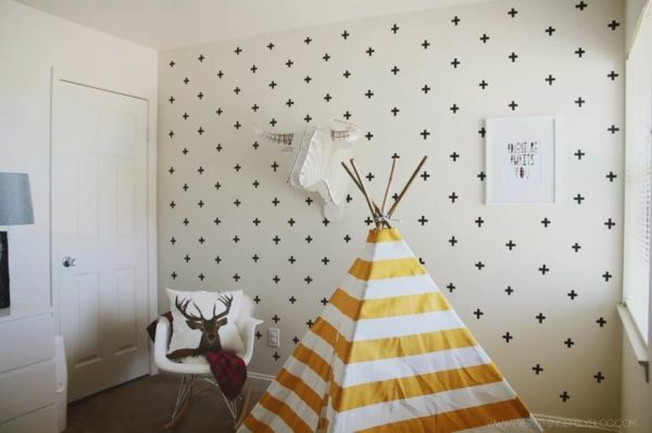 Stilvolles Kinderzimmer mit Schablonen dekorieren-idee schablone