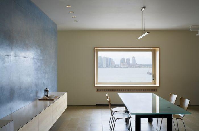 Stilvolles, minimalistisches Wohndesign und Esstisch aus Mattglas-Glastisch Mattglas robust haltbar Esstisch Minimalismus