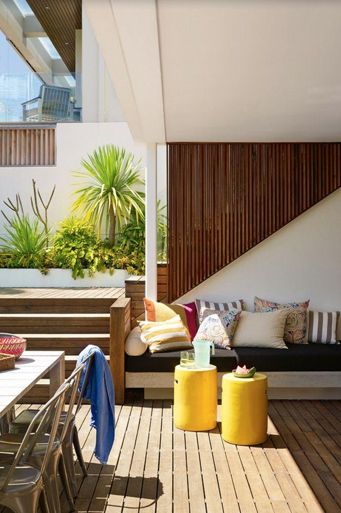 Stoffhocker Beistelltisch Sitzbereich-Veranda Innenhof Gestaltung