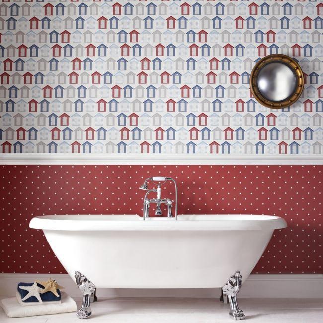 Strandhäuschen in Weiß, Rot und Blau fürs Badezimmer-Badezimmer Tapete