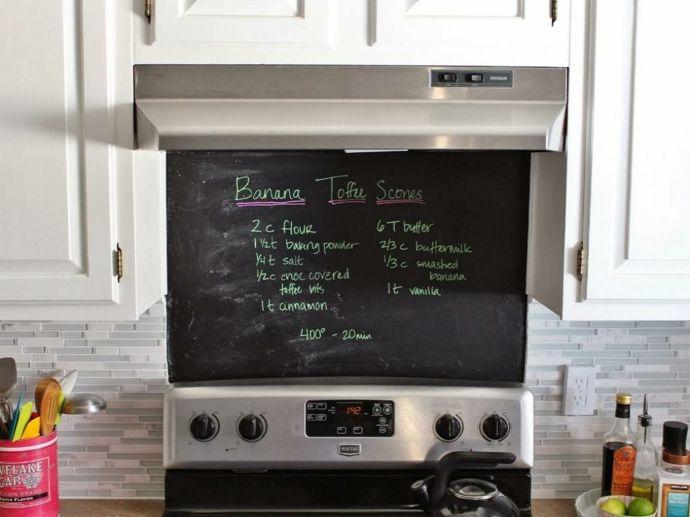 Tafelwand Kochfeld Küchenrückwand praktisch Rezepte-Kreidetafel in Küche