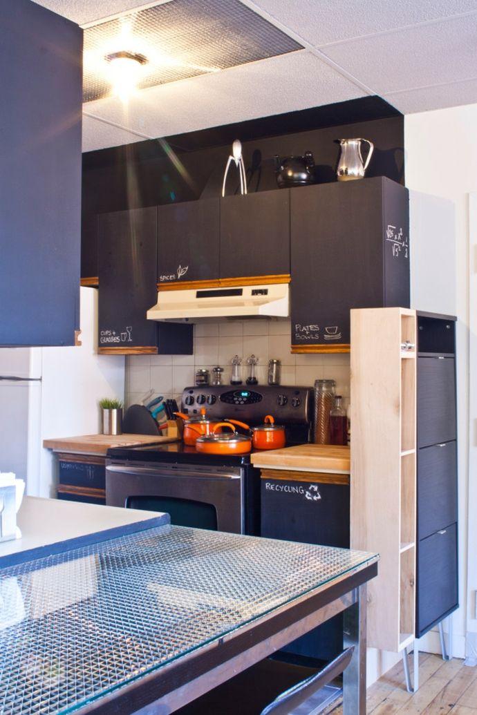 Tafelwand beschriftbar Schrank Hinweise-Kreidetafel in Küche