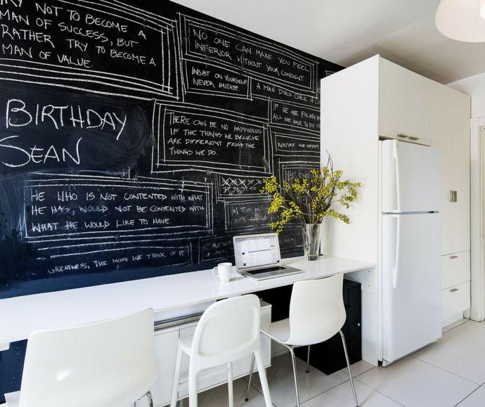 Tafelwand deckenhoch Gekritzel Notizen Esszimmer-Kreidetafel in Küche