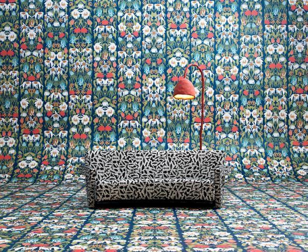 Tapfer und kreativ Muster verwenden-Wandtapete Barock skurril klassisch Figuren Motiven Rot Blau Grün