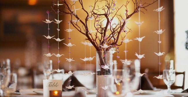 Tischdekoration mit weißen Schwalben-Tischdeko Hochzeit