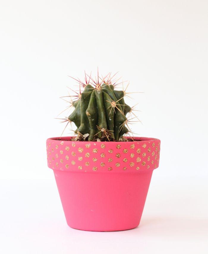 Tolles Pünktchenmuster in Gold und Pink-Blumentopf bemalen Basteln Zimmerpflanzen Kakteen