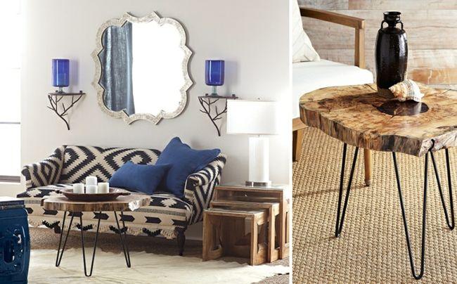 Trendfarbe Blau, Beisteltisch, Wandspiegel-Einrichtungstrends
