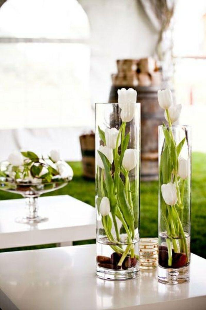 Tulpen in Glasvasen-Moderne Ideen für Vasen DIY