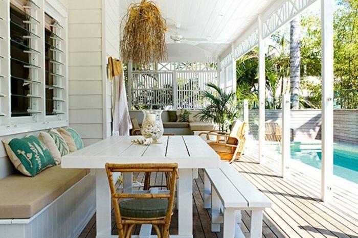 Unterhaltung Holzmöbel Swimmingpool -Veranda Innenhof Gestaltung