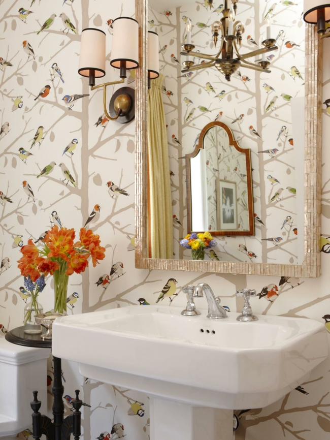 Vögelchen-Muster im stilvollen Badezimmer-Badezimmer Tapete