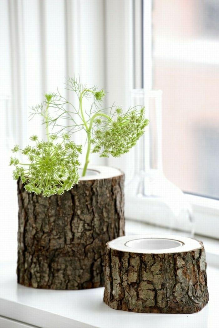 Vase aus kleinem Baumstamm-Moderne Ideen für Vasen DIY