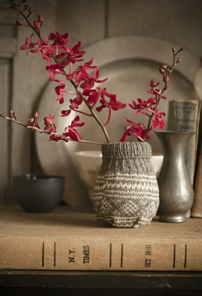 Vase umhäkeln-Moderne Ideen für Vasen DIY
