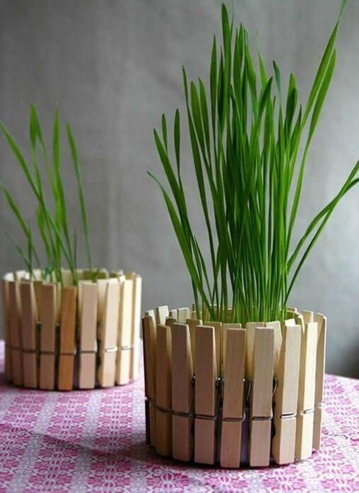 Vasen aus Wäscheklammern-Moderne Ideen für Vasen DIY