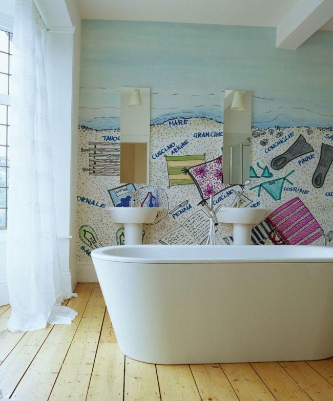 Verspielte Fototapete in Pastellfarben fürs Badezimmer-Badezimmer Tapete