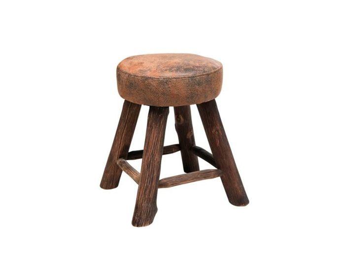 Vintage Hocker aus Holz und Leder mit Vintage Flair-robust Lederlook Lederoptik rustikal Sitzhocker Vintage-Look Designermöbel Sitzmöbel