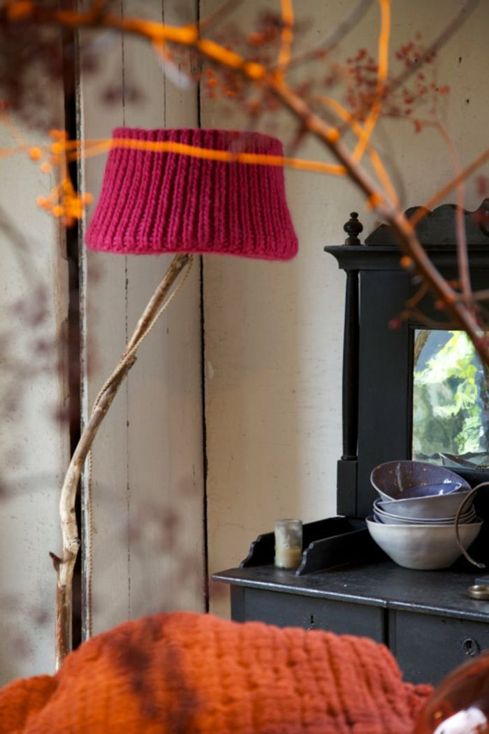 Vintage Orange Rot naturbelassen-Gestrickter Lampenschirm