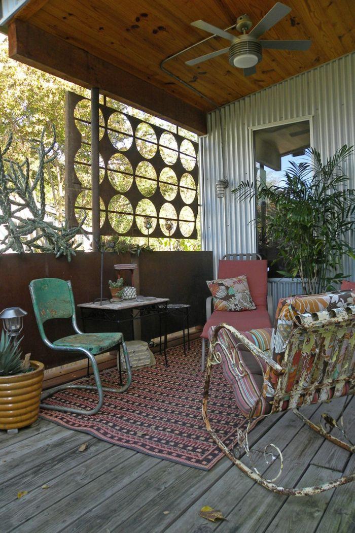 Vintage Schaukelstuhl aus Metall-Gartenmöbel aus Metall