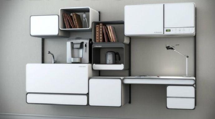 Wand Kompakt über modern Weiß-Designer Küche