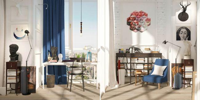 Wandgestaltung, blaue Gardinen-Einrichtungstrends