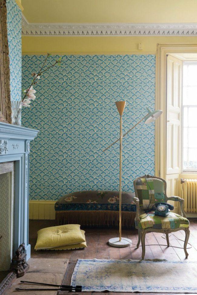 Wandtapete in Retro-Look für das Wohnzimmer-moderne-deko-wand-tapete