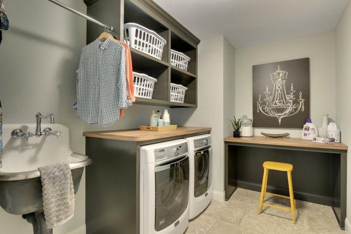 Waschküche Wandregal Laminat Arbeitsplatten Ausgussbecken elegant modern-Aufbewahrung