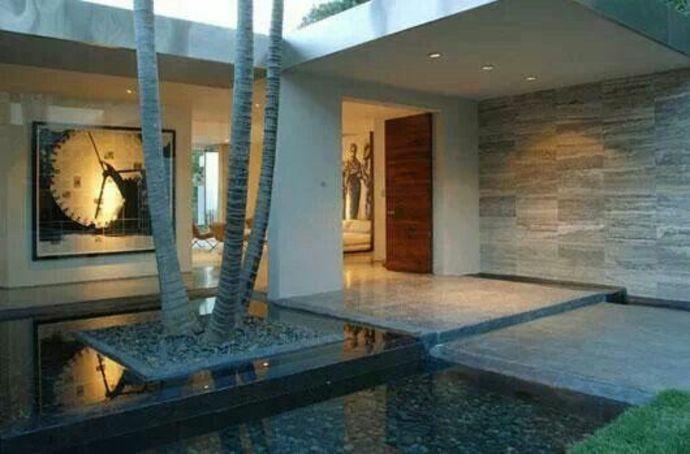 Wassereinrichtung im Eingangsbereich-Landschaft im minimalistischen Stil