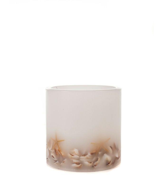 Weiße Kerze mit Muscheln LED-Flammenlose Kerzen