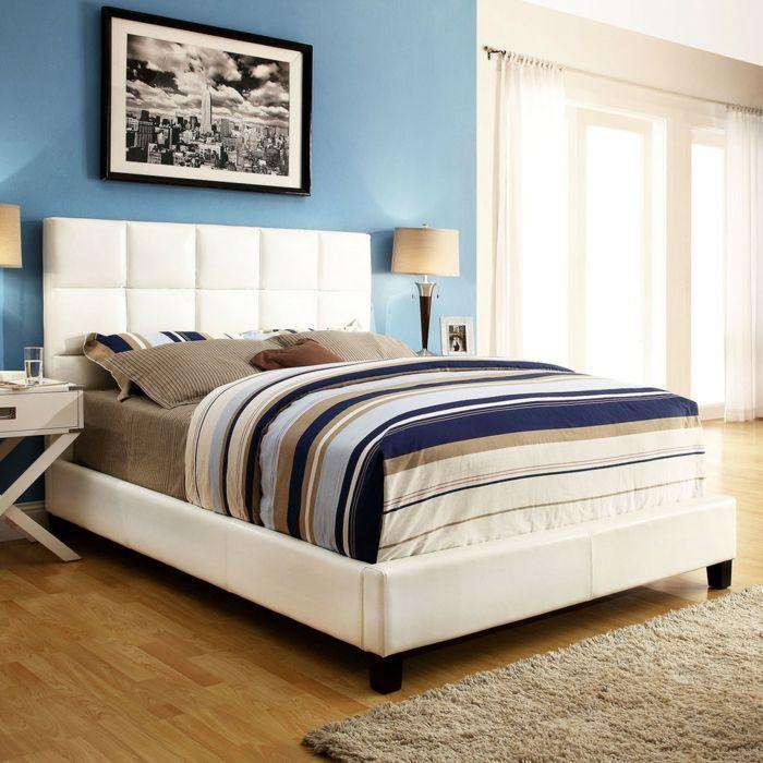 Weißes Plattform Bett mit bunter Bettwäsche-Schlafzimmer Luxusbetten