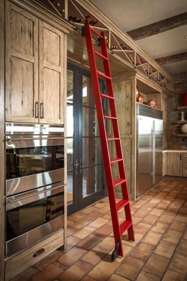 Weinlagerung in der Küche-Leiter Holz Weinregal Weinlagerung Küche Design