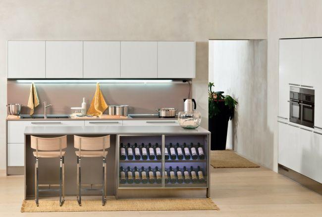 Weinlagerung in der zeitgenössischen Küche-Weinregal Glas Küche Küchenbereich Design Idee Lagerung