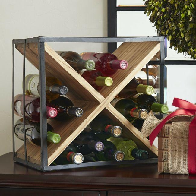 Weinregal aus Holz-Weinregal rustikal Weinlagerung Aufbewahrung Design