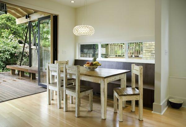 Wohnidee mit Esszimmermöbeln aus Massivholz-Landhausstil Massivholz Esstisch Essstuhl