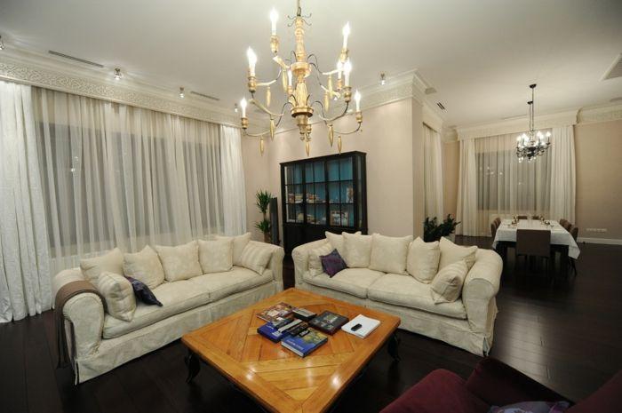 Wohnzimmer Ornamente Gardinen Kronleuchter Eleganz-dekorative Deckenleisten