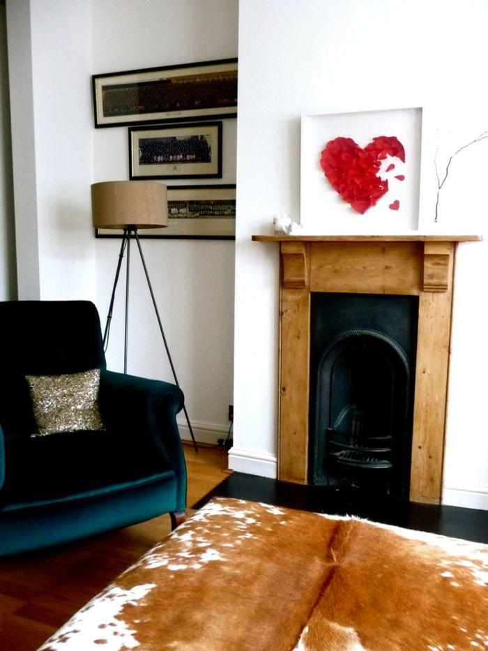 Wohnzimmer Papierherz Deko-romantische Einrichtung am Valentinstag