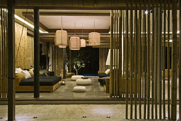 Wohnzimmer mit Bambus individuell gestalten-Bambus Dekoration