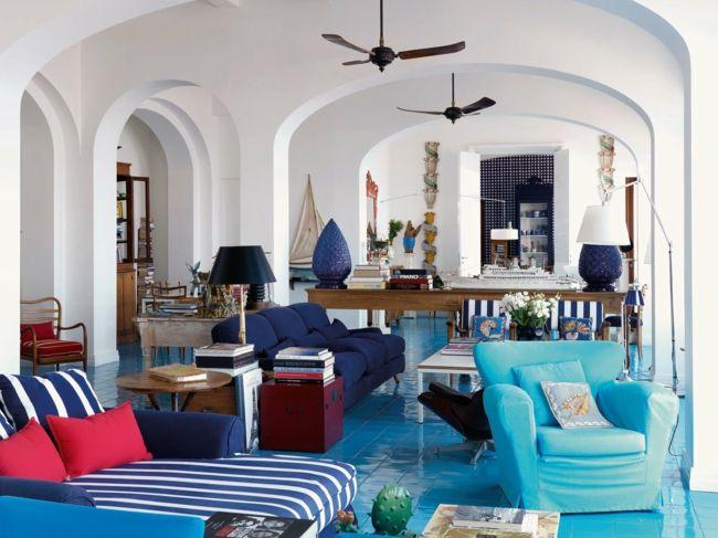 wohnzimmer blau weiß:Esstisch, Beistelltisch Sessel Blau Weiß Rot wohnzimmer ideen