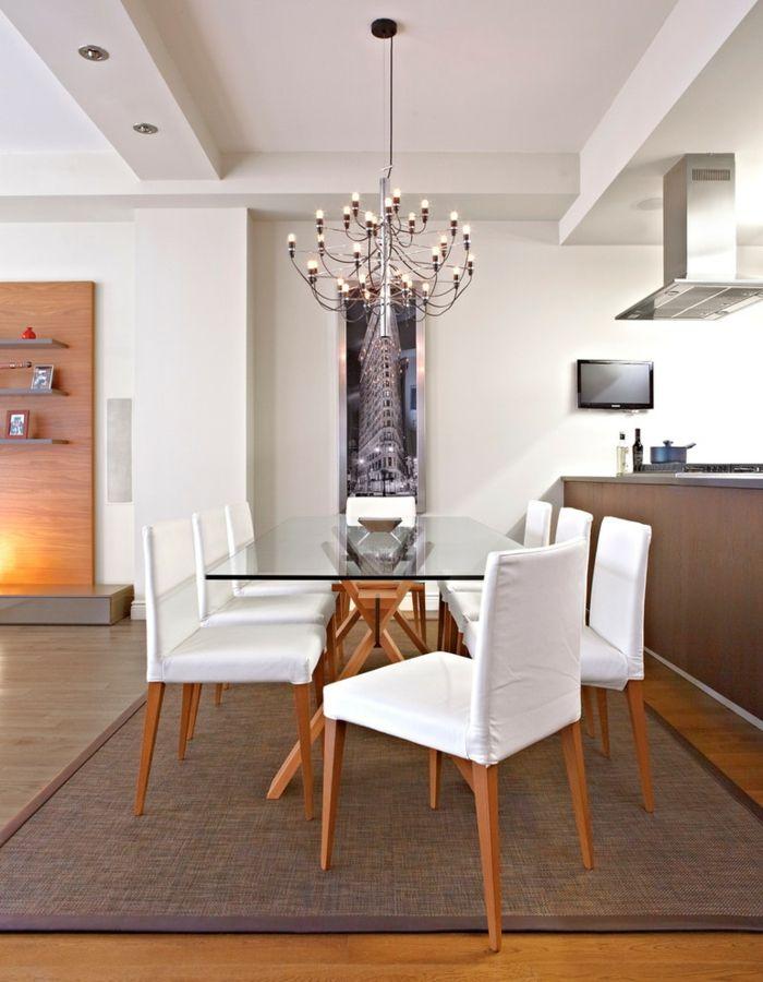 Zeitlosigkeit im Interieur-Glastisch Glasplatte Küche Esstisch modern Küchenmöbel