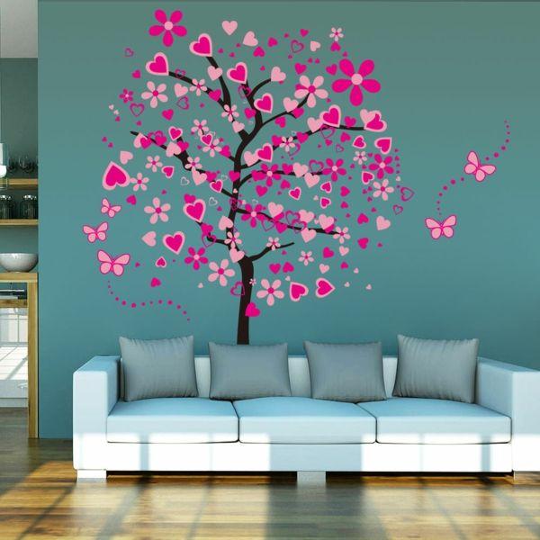 kreative Wandgestaltung bringt gute Laune in die Wohnung-idee schablone