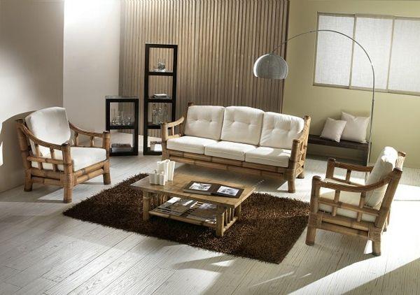 leichte, weiße Bambus Sitzecke im Wohnzimmer-Bambus Dekoration